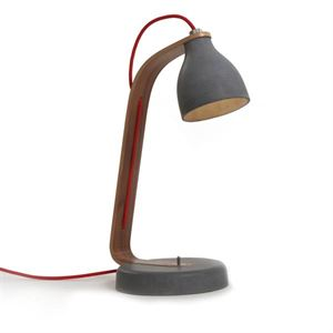 decode Heavy Desk Light Bordlampe M�rk Betong med Valn�d